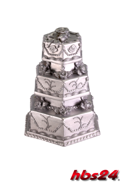 Deko Hochzeitstorte eckig Silber - hbs24